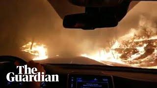 Family drive through flames escaping California wildfire