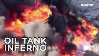 Fiery Oil Tank Explosion Caught on Drone Camera