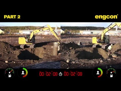excavator digging comparison - with and without engcon tiltrotator - film 1