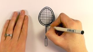 How to Draw a Cartoon Badminton Racquet