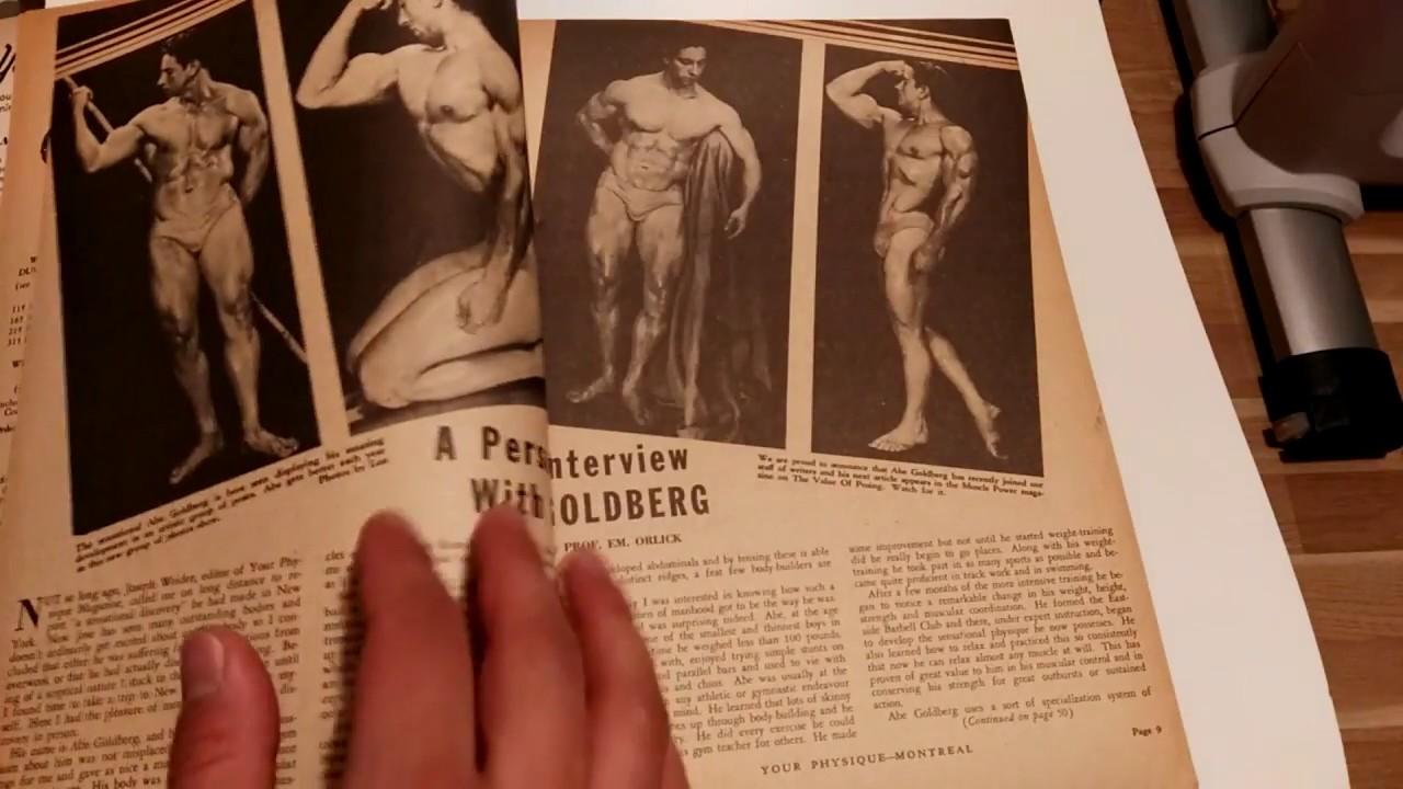 The story of Abe Goldberg, golden era legendary bodybuilder. Your Physique June 1947