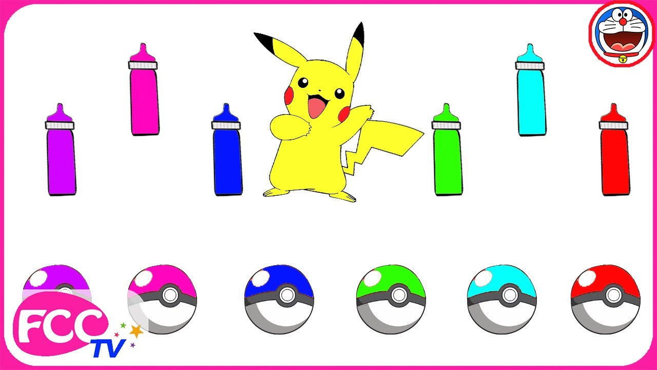 🌺Cómo Dibujar y Colorear Pikachu Pokemon de Arco Iris 🍕Dibujos ...