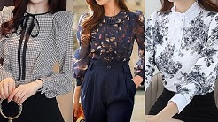 most trending and attractive American style long sleeves flare style women blouse/shirts design 2020