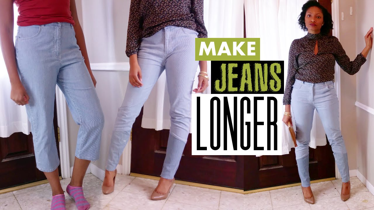 how to make jeans longer the cool way easy sewing blueprintdiy youtube. Black Bedroom Furniture Sets. Home Design Ideas