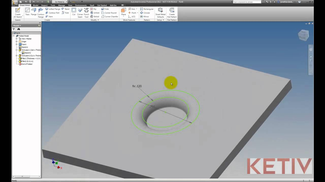 Creating A Sheet Metal Emboss In Autodesk Inventor Youtube
