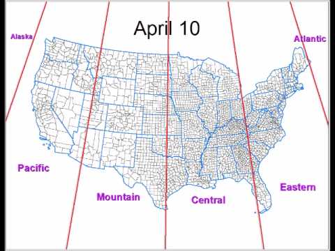 Time Zone Boundaries Throughout a Year