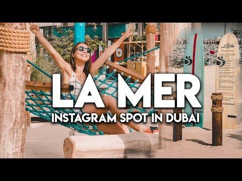 Instagram spot in Dubai.  La Mer Dubai Beach.