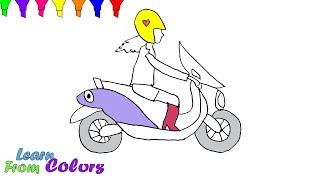 How To Draw Scooter Girl Coloring Page Learn Colors For Girls And Kids