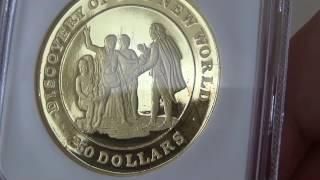 1992年イギリス連邦 バハマ  ミドルエリザベス 250ドル プルーフ金貨PF68 UCAM NGC