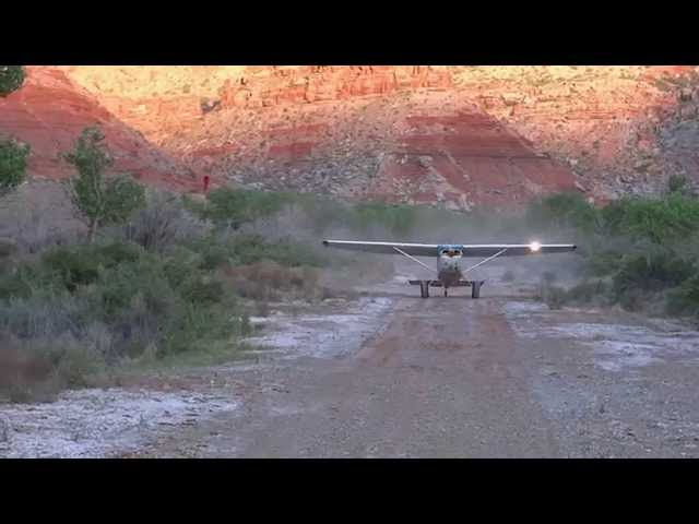 Cessna 180 landing at Mexican Mountain, UT (Rwy 29)