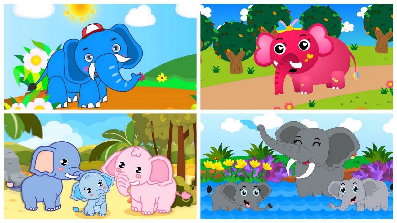 เพลงช้าง   ช้าง 4 เวอร์ชั่น แอนนิเมชั่นน่ารัก 4แบบ ช้างสีเทา สีฟ้า สีชมพู ครอบครัวช้าง