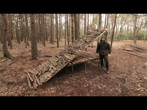SHACK SHELTER - BARK ROOF, LOG CABIN NOTCHES, AXE, SAW, BUSHCRAFT
