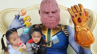 Thanos stole candy from baby | Kids pretend play with marvel avengers | Nastya,Diana,Ryan,Shfa