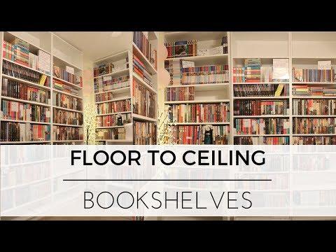 Building Floor to Ceiling Bookshelves + Organizing Books