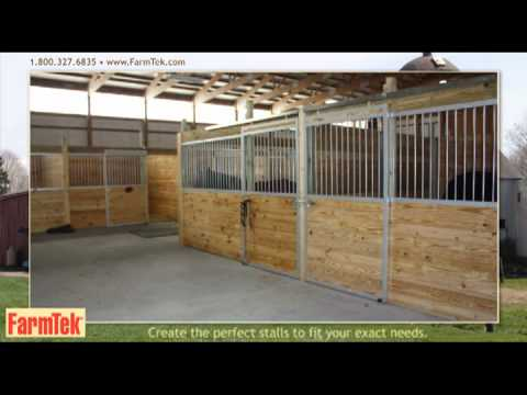 Champion Horse Stall Systems in a ClearSpan Fabric Indoor Riding Arena