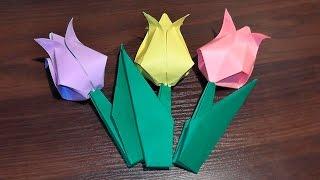 Оригами тюльпан из бумаги (цветок из бумаги)(Оригами тюльпан из бумаги (цветок из бумаги) мастер класс В данном видео мы узнаем, как сделать бумажный..., 2014-12-24T22:02:14.000Z)