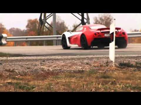 Marussia B2 review test drive sound vs bugatti top gear exhaust .mp4