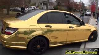Gold Chrome Mercedes Benz C-Class || Cars & Coffee || Deluxe Car Storage (10/17/13)