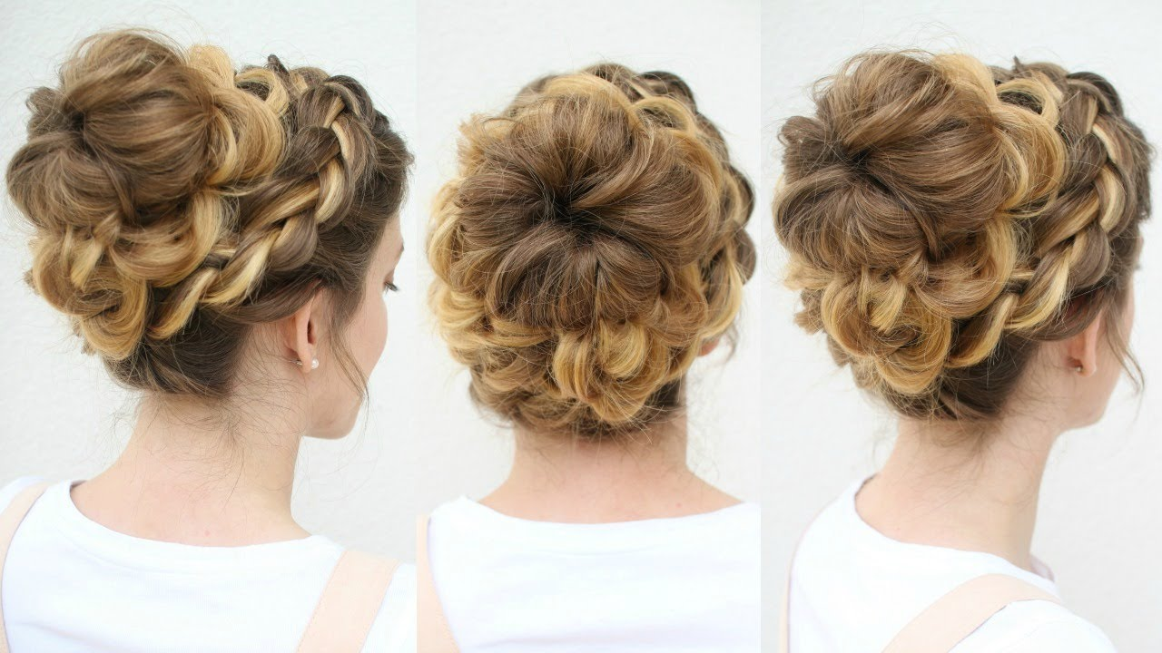 high bun hair styles beautiful braided bun updo bun hairstyles 3227