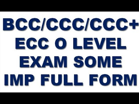 BCC/CCC/CCC+ ECC O LEVEL EXAM SOME IMPORTANT FULL FORM IN HINDI ...