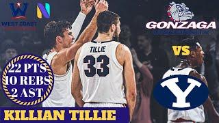 Killian Tillie 22 Gonzaga Bulldogs 22 PTS 10 REBS 2 AST vs BYU Cougars   WCC