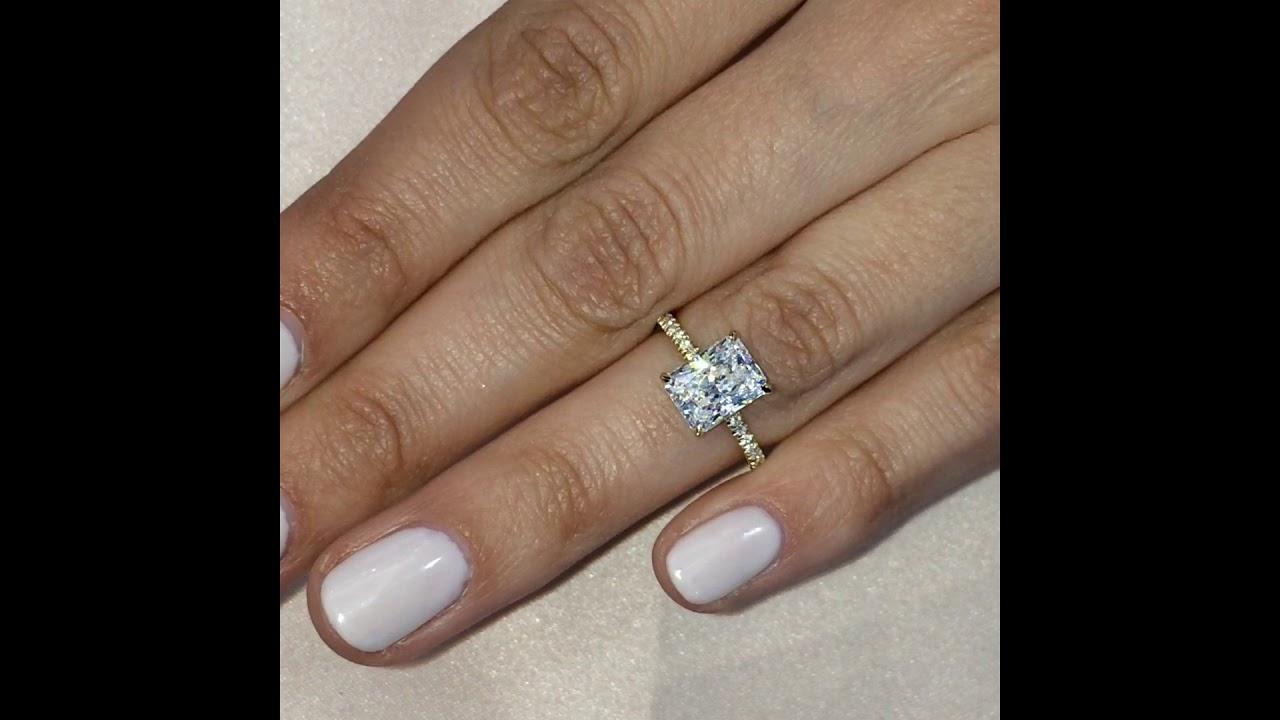 2.2 carat Radiant Cut Diamond Yellow Gold Engagement Ring