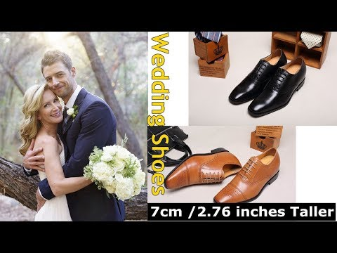 Mens Wedding Heeled Shoes Dress Shoes With Height Insoles For Bridegroom