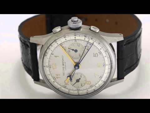 Wristwatch: Geneva split-seconds chronograph, stainless steel, Record Watch Co. Geneve, from the 40s