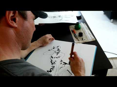 David Mack drawing me at Rae Threat's photo shoot