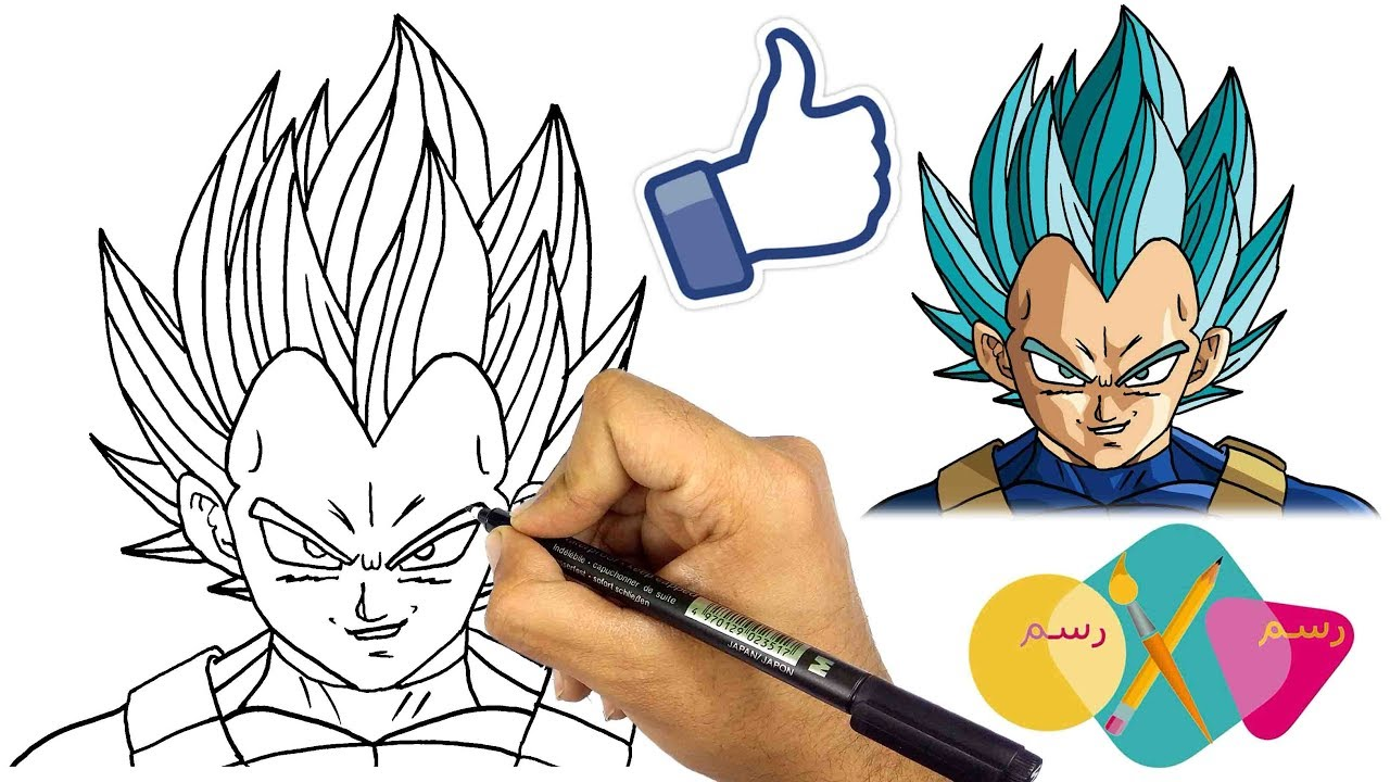 رسم فيجيتا بلو تعلم رسم الانمي كيف ترسم وجه فيجيتا و هو غاضب