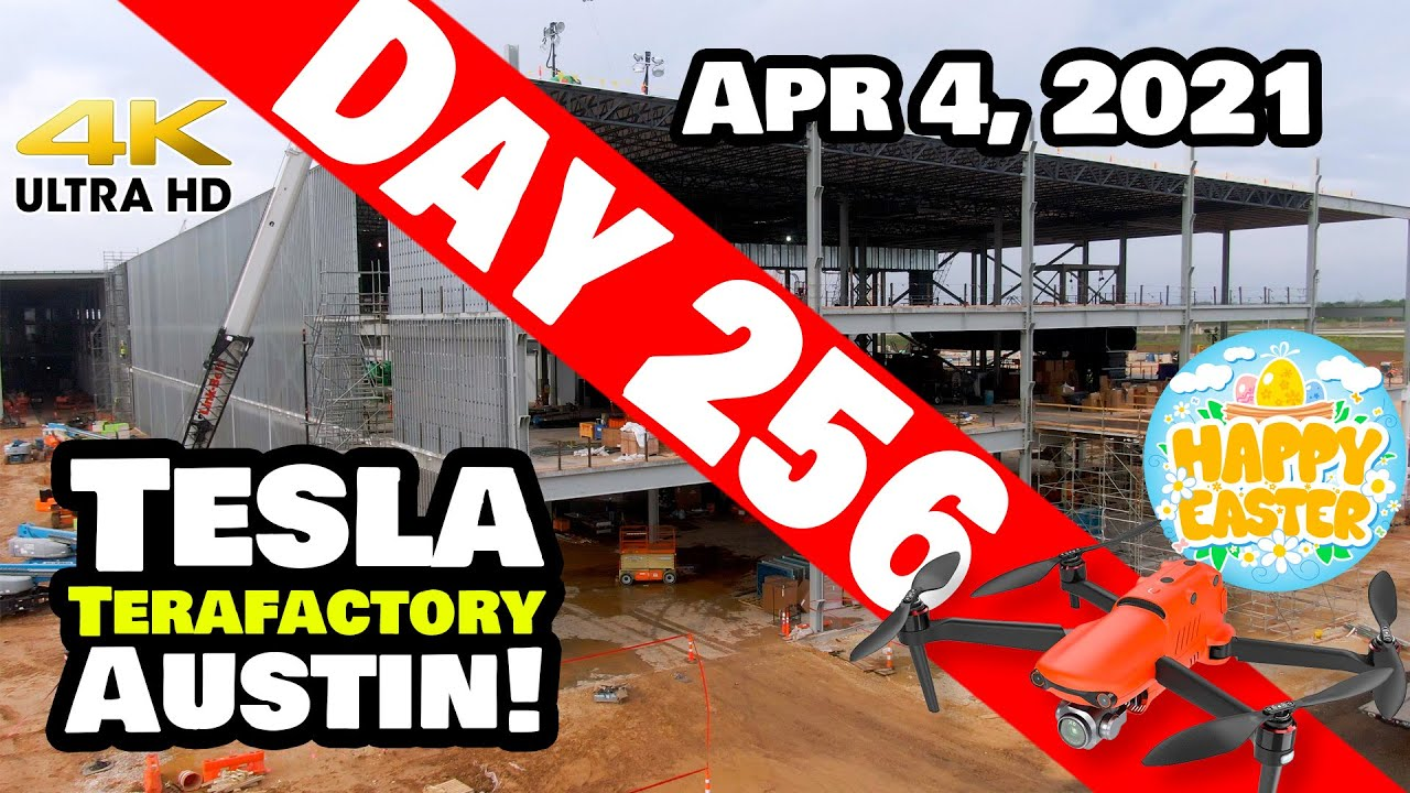 Tesla Gigafactory Austin 4K  Day 256 - 4/4/21 -Terafactory- SEARCHING FOR EASTER EGGS AT GIGA TEXAS!