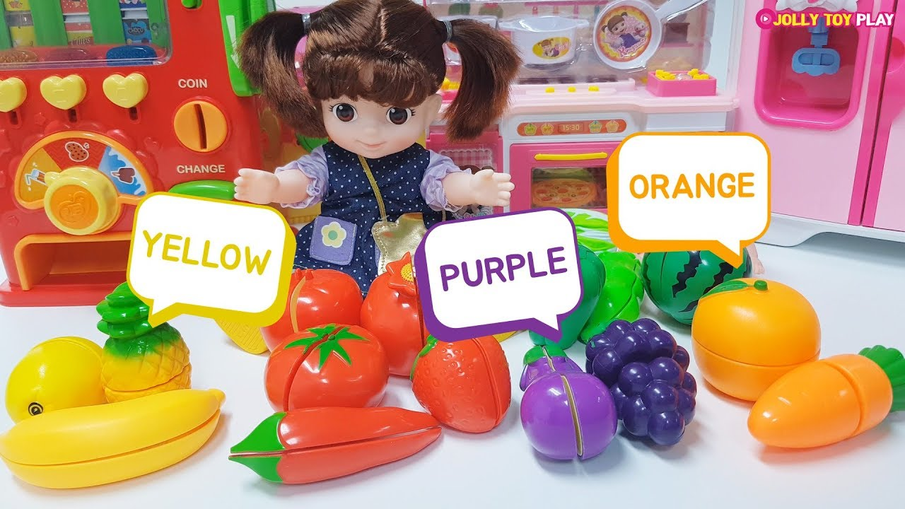 Learn English and colors of fruits and vegetables with your baby doll friend | Jolly Toy Play ♡