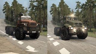 Spintires Mudrunner Kraz B vs Ural Polarnik Monster 6x6 Truck