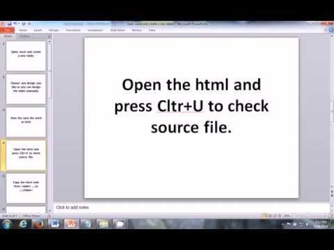 Create Beautiful CSS HTML/HTML 5 Table Through Word (Microsoft Office)