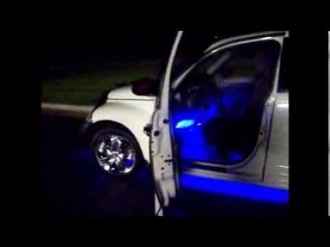 The Pt Cruiser Lighting Up Night With Its Blue Neon Lights