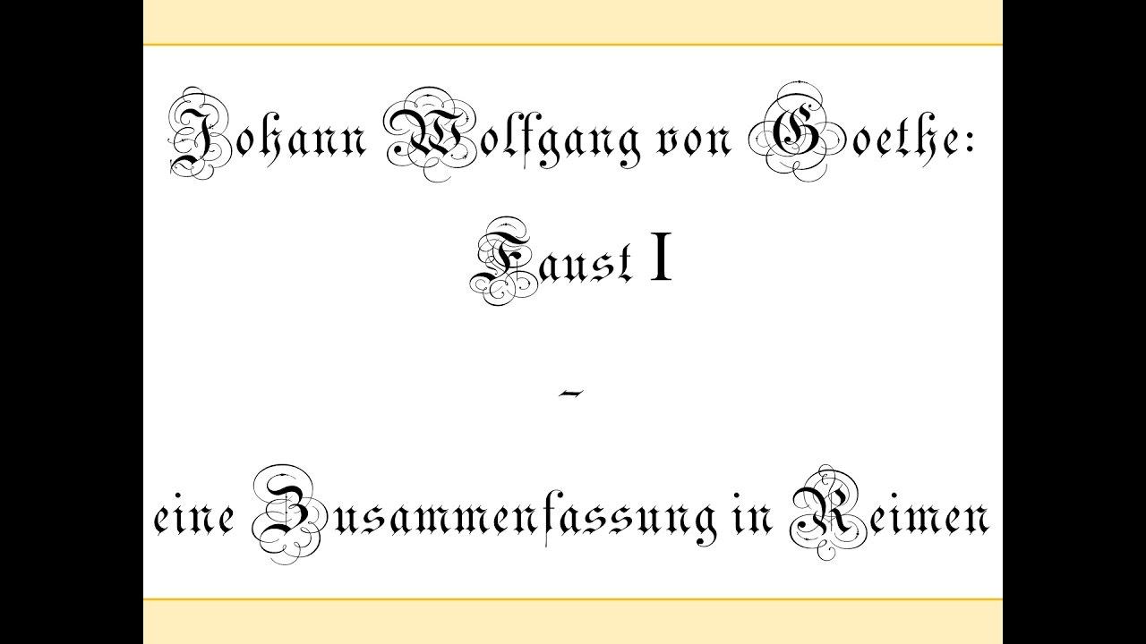 Goethe Faust I Eine Zusammenfassung In Reimen Mephisto