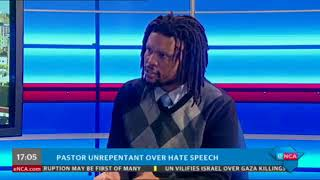 Gushwell Brooks on ENCA speaking about Pastor Bougardt's unrepentant hate speech