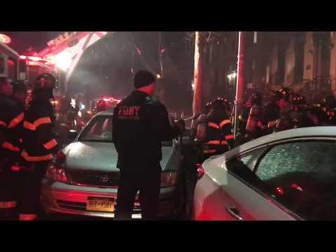 FDNY BOX 0883 - FDNY BATTLING 3RD ALARM FIRE IN A BROWNSTONE ON JEFFERSON AVENUE IN BROOKLYN, NYC.