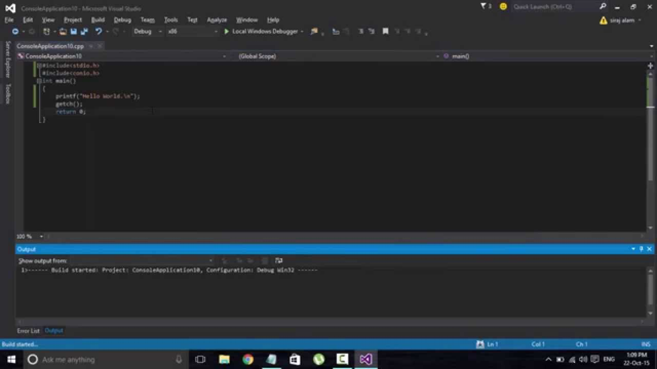 How To Compile And Run C Program In Visual Studio 2015