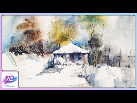 Snow House Landscape Watercolor Painting | How to paint a watercolor landscape | Art Explain