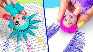 9 лайфхаков с куклами Барби и ЛОЛ / Как пронести кукол в школу