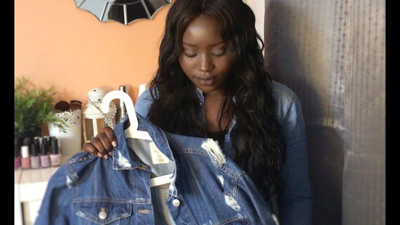 Veste jean longue noire femme