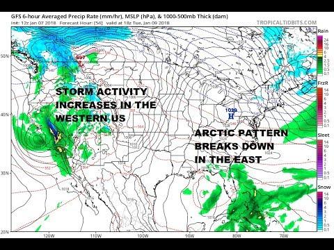 Major Storm California Heads To Rockies, Arctic Pattern Breaks Down Eastern US