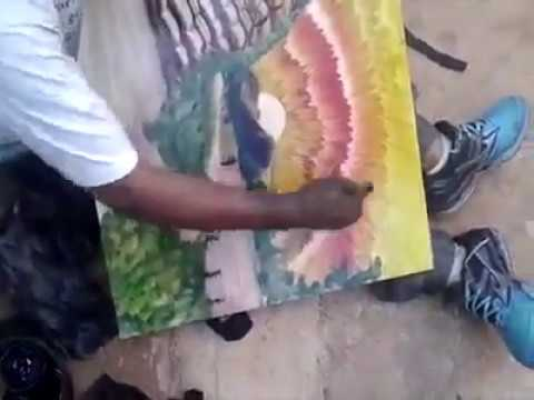 Hand painting techniques by a school boy