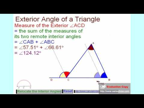 Exterior angle of a youtube - The exterior angle of a triangle is equal to ...