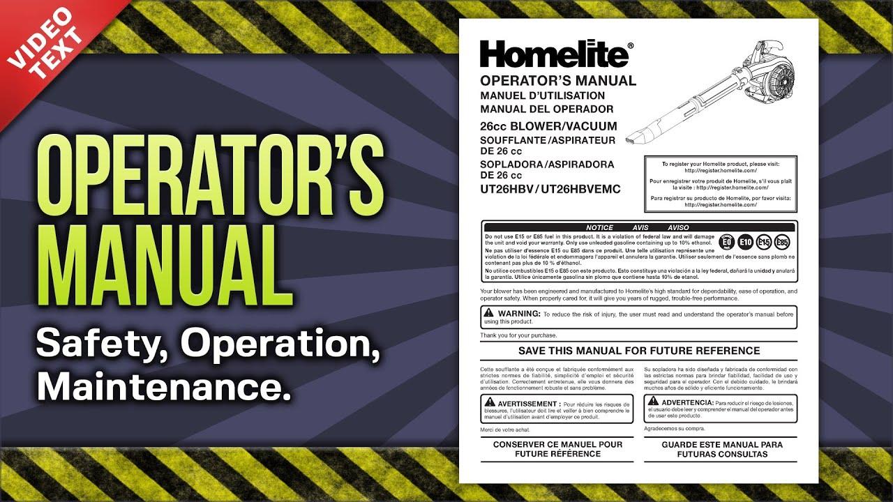 operator s manual homelite ut26hbv ut26hbvemc 2 cycle handheld rh youtube com Homelite String Trimmer Manual homelite operator's manual