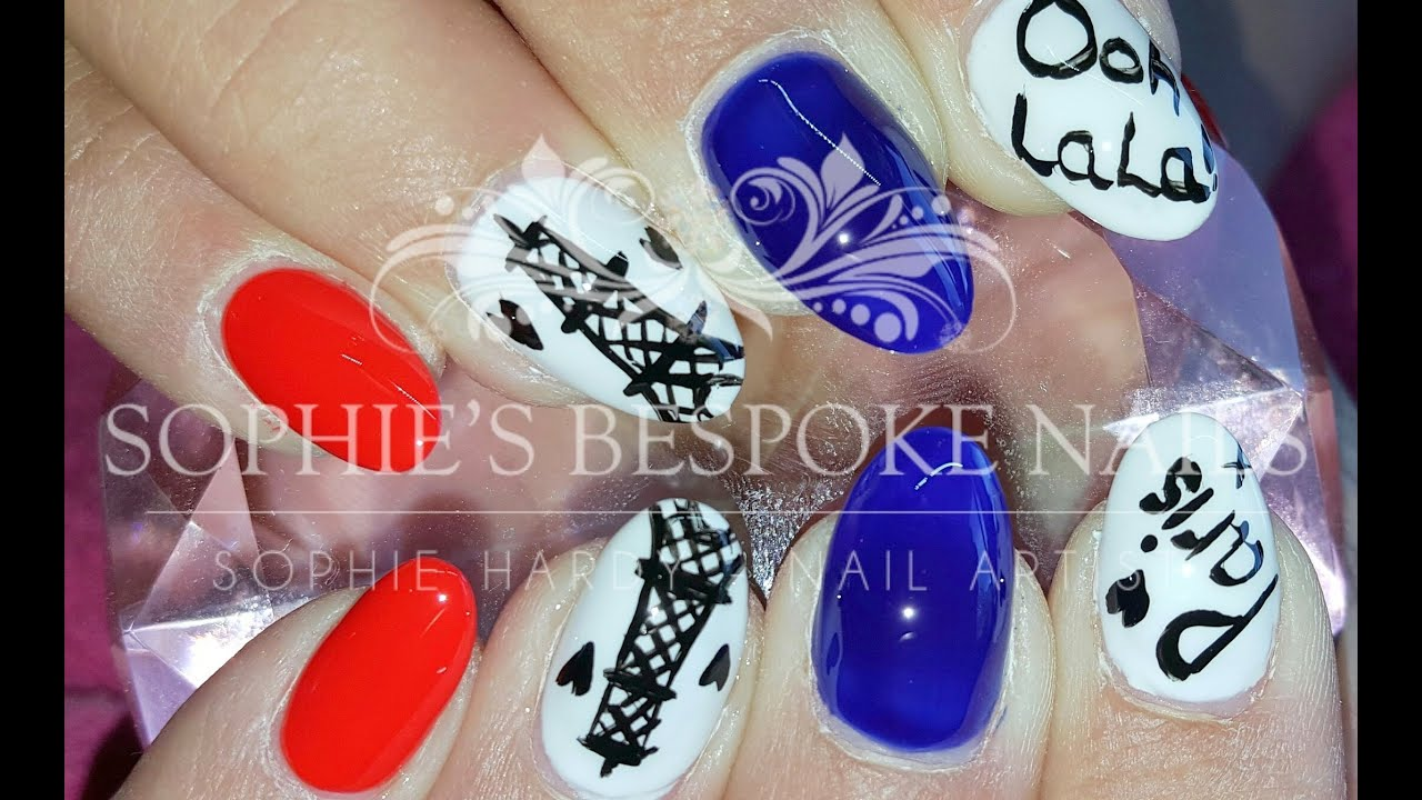 Acrylic Nail Infill With A Love Paris Nail Design Youtube
