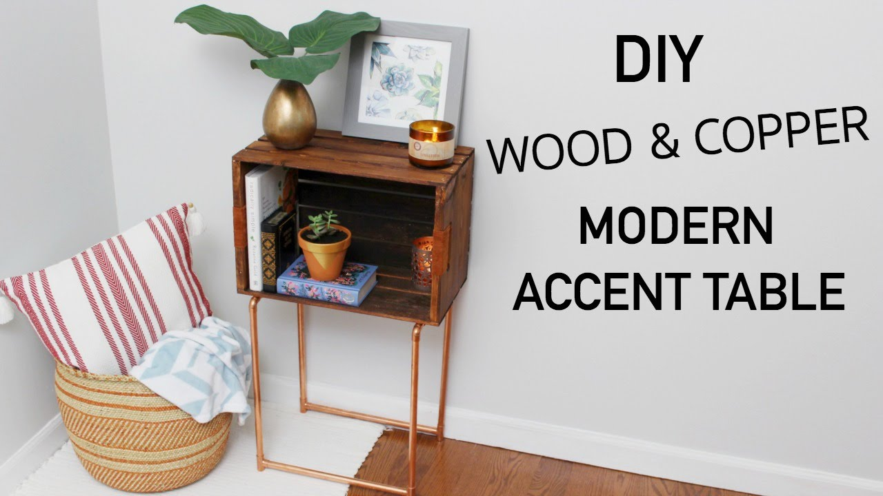 DIY WOOD CRATE & COPPER MODERN ACCENT TABLE || KATIE BOOKSER - YouTube