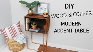 DIY WOOD CRATE & COPPER MODERN ACCENT TABLE    KATIE BOOKSER