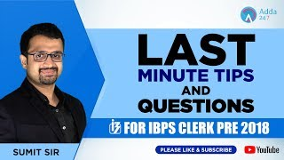 Last Minute Tips And Questions For IBPS Clerk Pre   Sumit Sir   12 P.M.